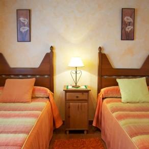 Dos camas individuales y una mesita.