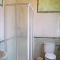 Ducha, lavabo y lavamanos.